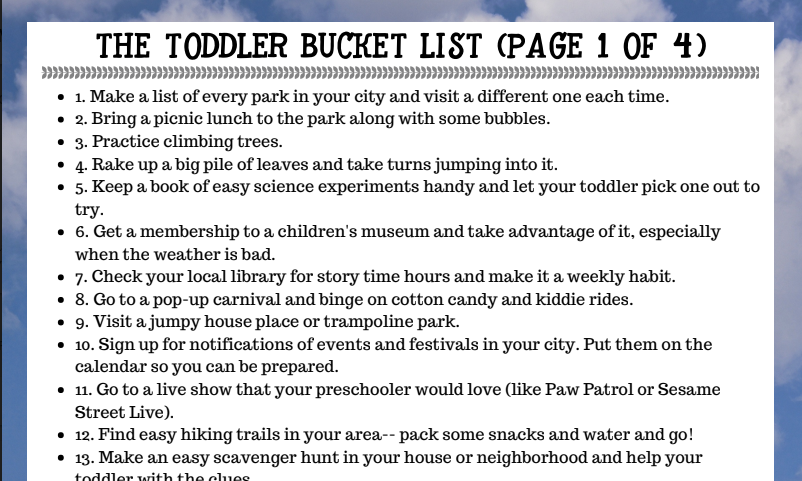 Toddler Bucket List | 100 Activities for preschoolers | Labor Mom