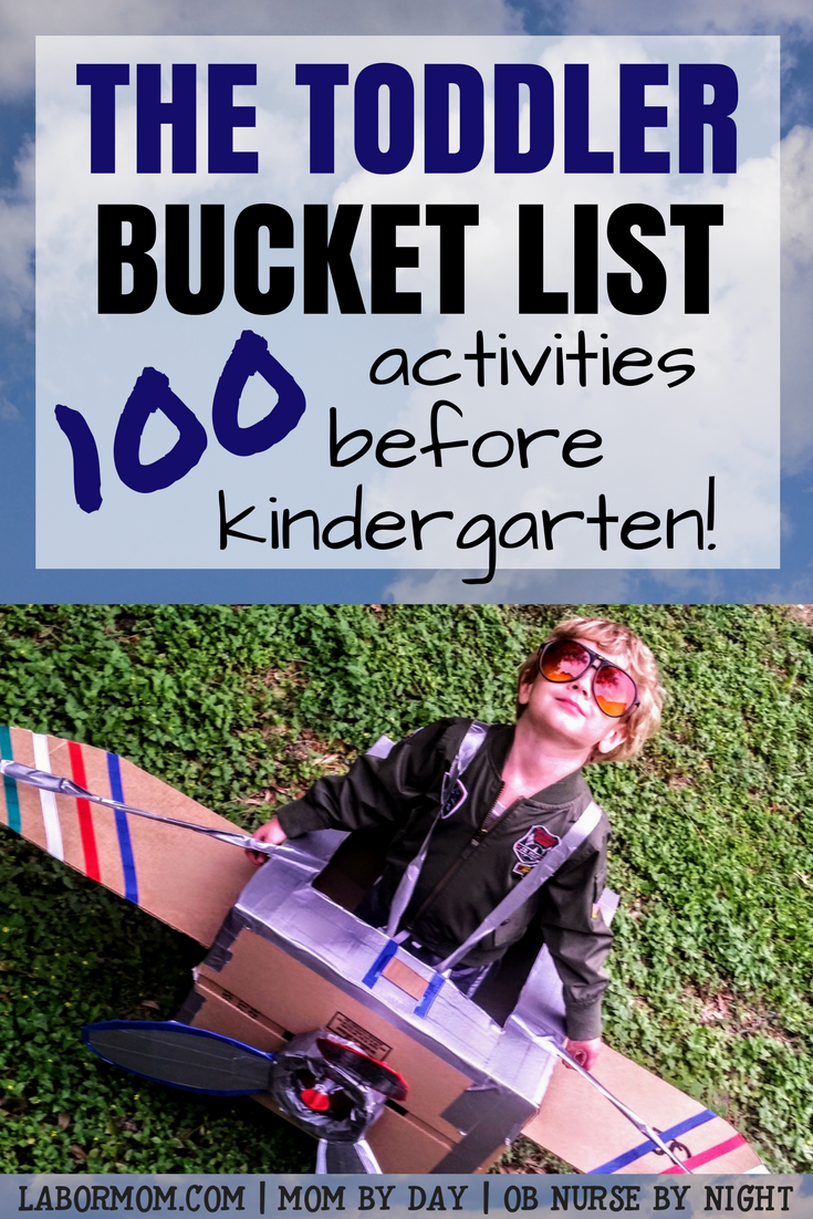 Labor Mom | boy in cardboard airplane | text Toddler Bucket List